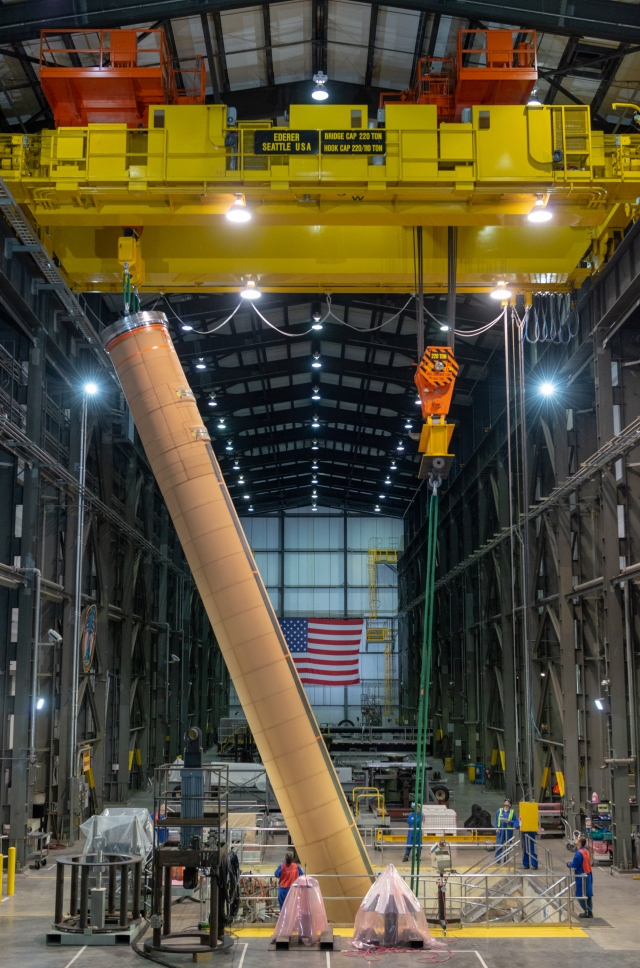 Engineers at the Magna, Utah, facility maneuver the single, 72-foot-long case into the casting pits.