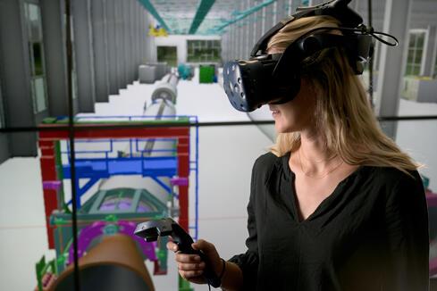 Virtual Reality headset on female