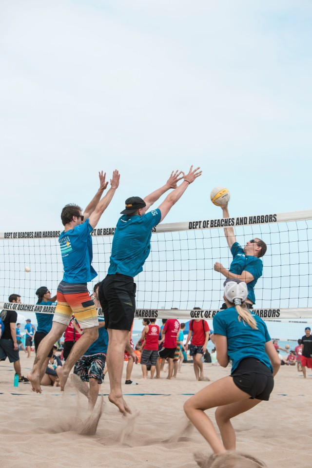 Players in volleyball game