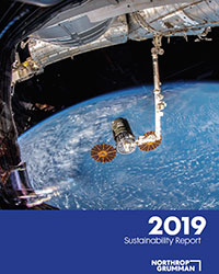 space craft above earth on the cover of the 2019 Sustainability Report