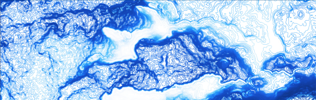 Royal Blue and White drawing resembling a water-like image
