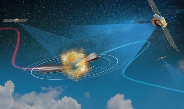Artist rendering of satllites intercepting missiles.