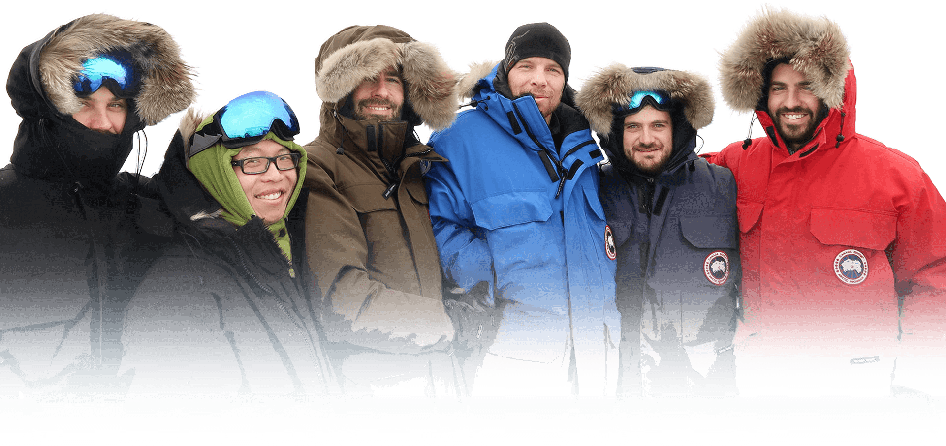 Group of people wearing heavy winter parkas