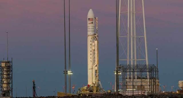 Antares rocket on launch pad at NASA Wallops Flight Facility