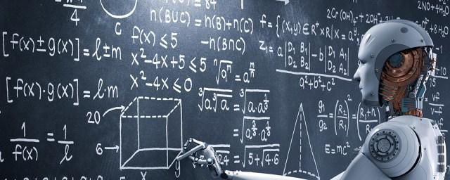 Robot writing mathmatical equations on chalk board