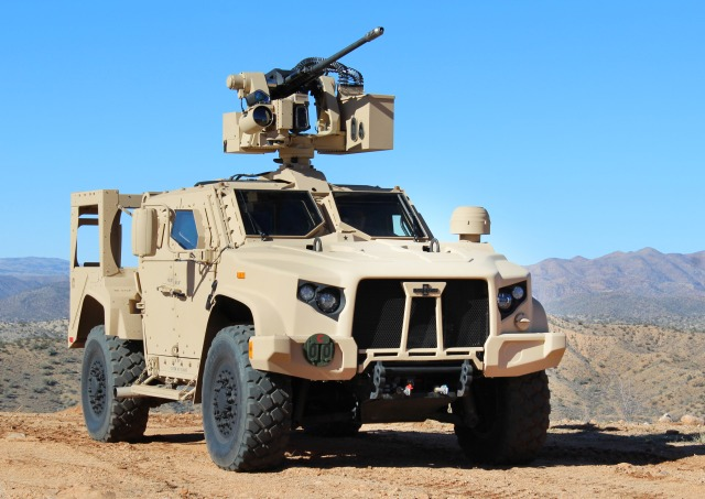 military vehicle with weapon mounted on roof