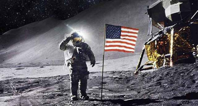 Iconic image of astronaut standing on the moon during the Apollo V mission.