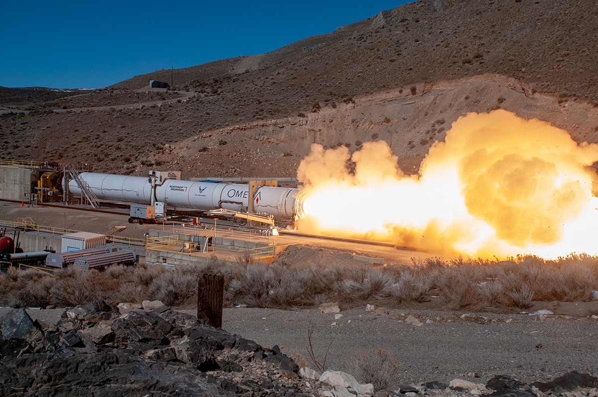 Northrop Grumman successfully conducted a static test of the second stage of the OmegA rocket in Promontory, Utah. (February 2020)