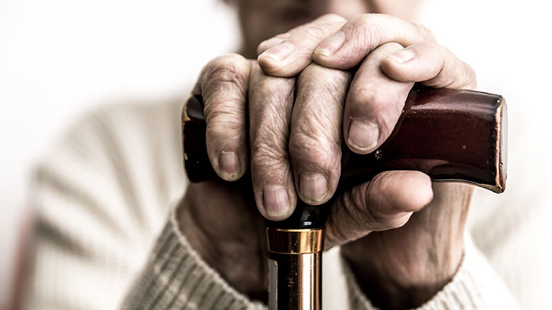 wrinkled hands of elderly person holding cane