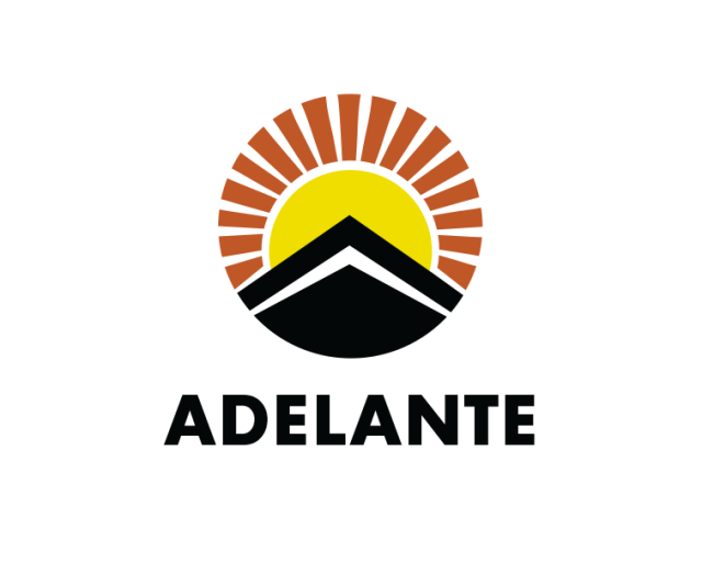 """graphic of sun rising with word """"ADELANTE"""""""
