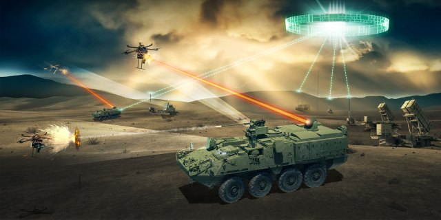 A designers example of a Short Range Air Defense (SHORAD) in action.