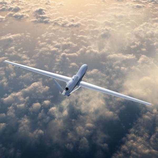 Unmanned military aircraft flying in the sky