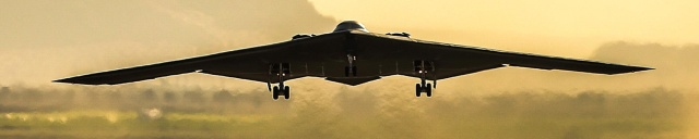 B-2 Bomber takes off at sunset