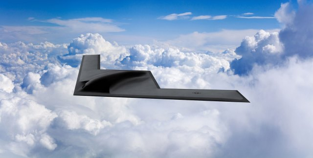 b-21 flying wing in the clouds