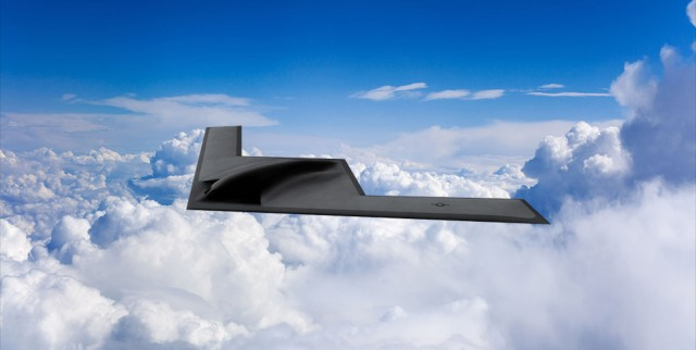 B-21 bomber flying above the clouds