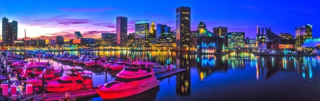 Panoramic shot of Baltimore, MD Harbor Dusk