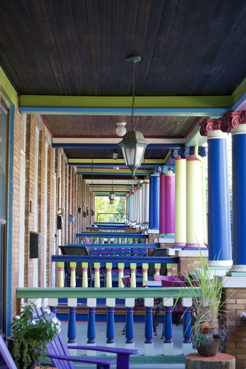 Row of colorful homes