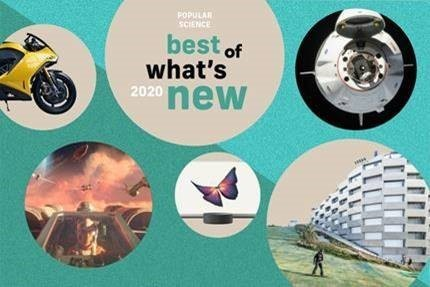 Teal blue banner of Popular Science best of what's new 2020