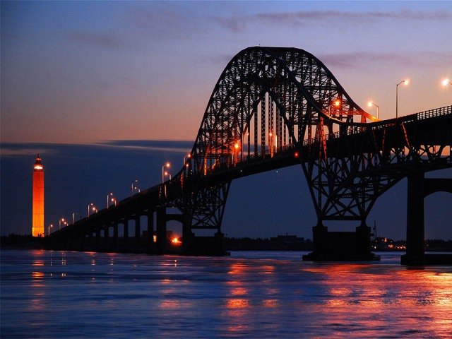 Bridge silhouette at dusk