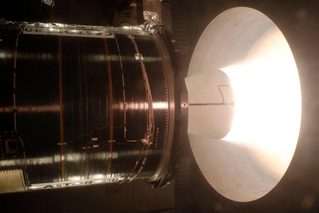 A large rocket motor being tested at testing faciltiy