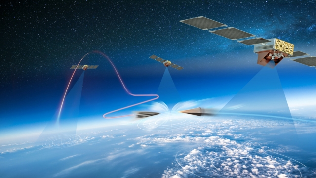 graphic rendering of a counter hypersonics scenario played out above the earth's atmosphere