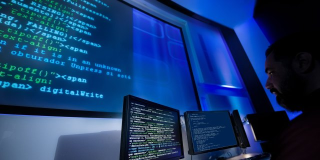 large computer monitor showingcode