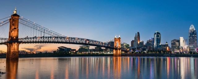 City across river with bridge