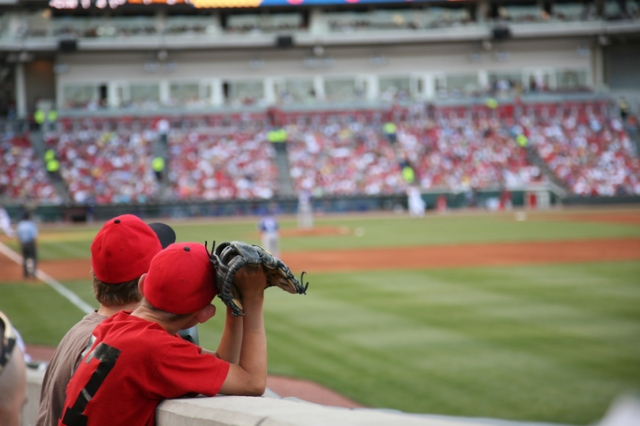 Baseball field with young boy