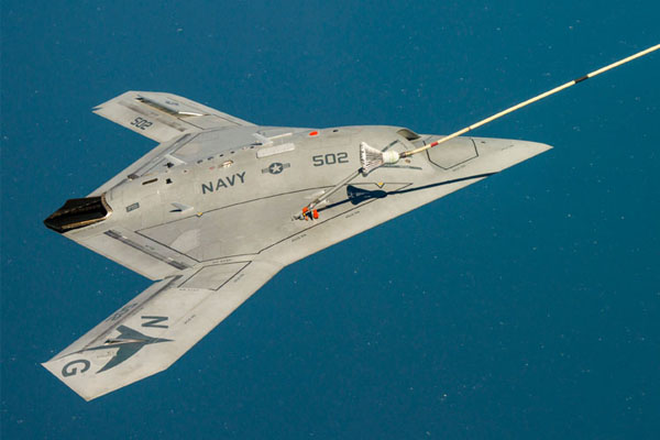 Unmanned military aircraft refueling in air