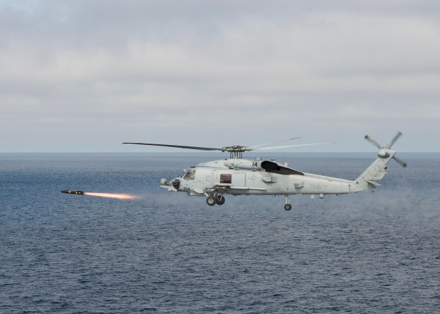 Sea Hawk helicopter (Hellfire) launching missile