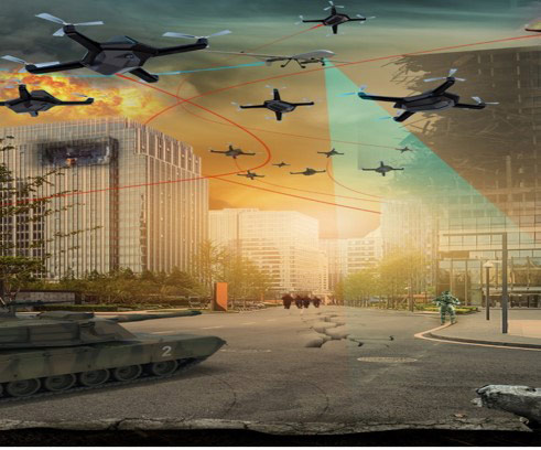 an illustration of drones flying above city streets