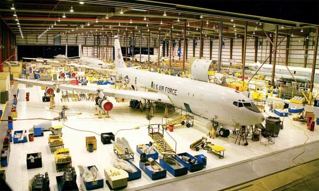 plane in hanger for logistics and modernization