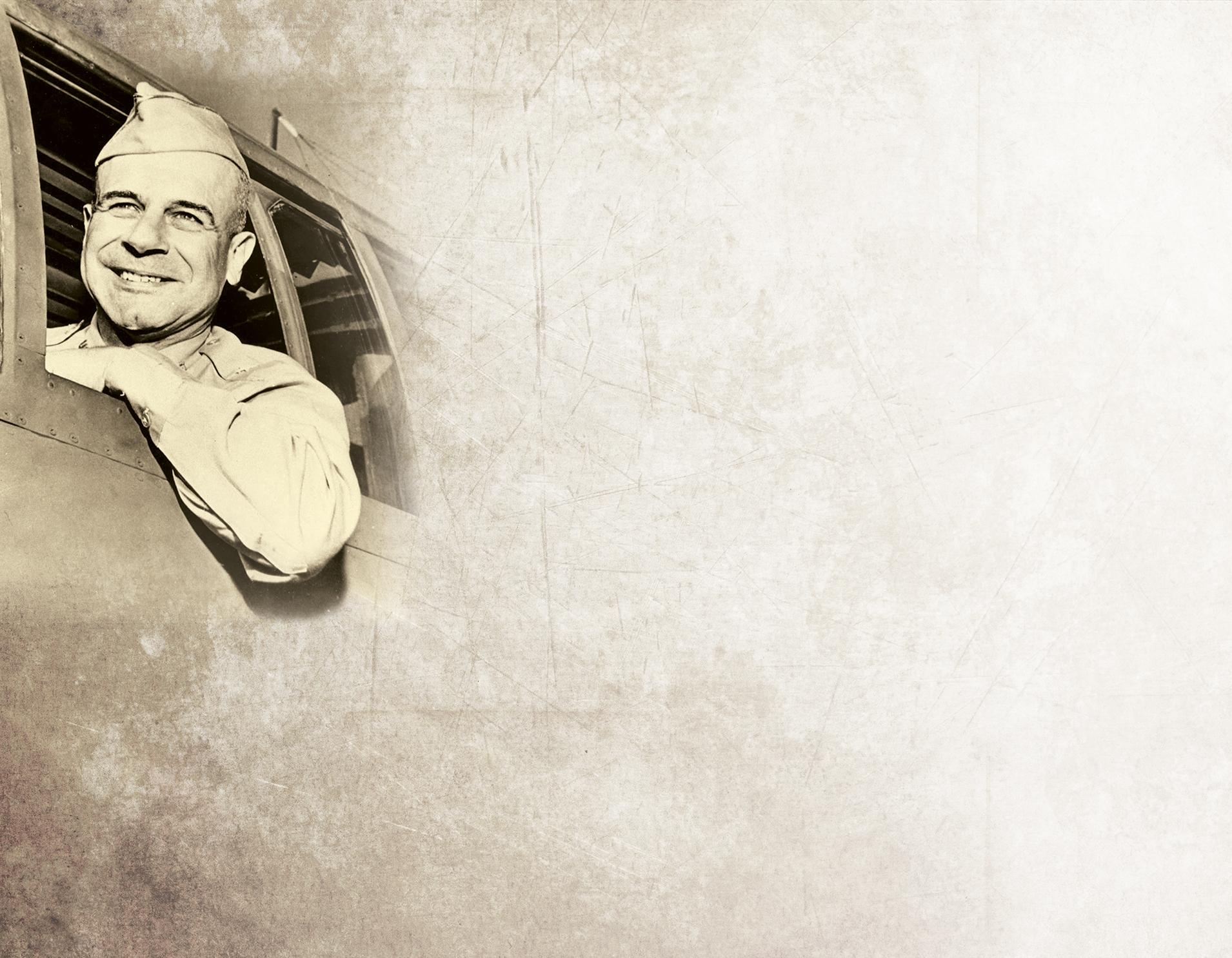 Jimmy Doolittle headshot on antique paper background
