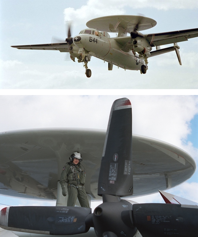 Top image: aircraft flying. Bottom image: pilot standing on wing of aircraft.