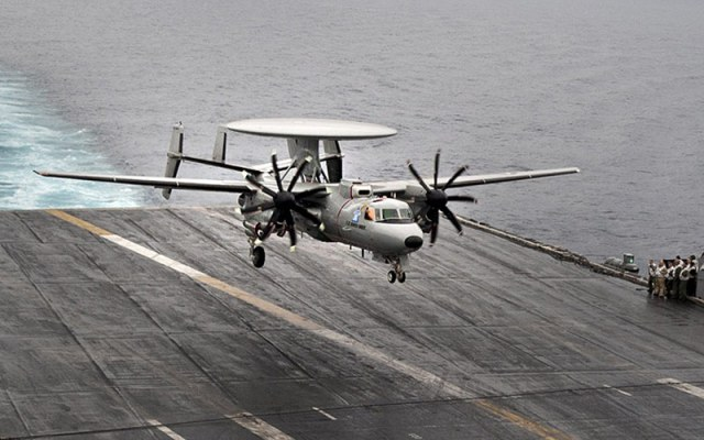 E-2D Advanced Hawkeye landing on carrier deck
