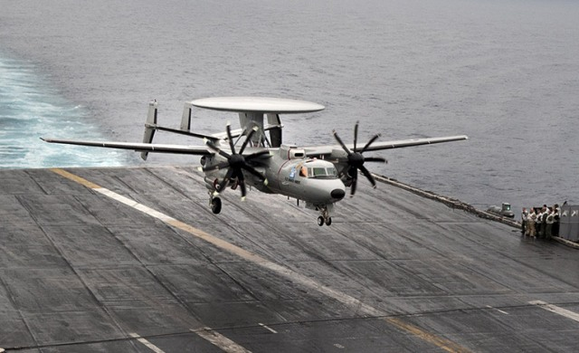 E-2D Advanced Hawkeye landing on the deck of aircraft carrier