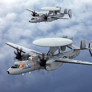Two E-2D Advanced Hawkeye aircrafr inflight