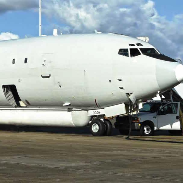 E-8C JSTARS aircraft sitting on ramp In Lake Charles, LA