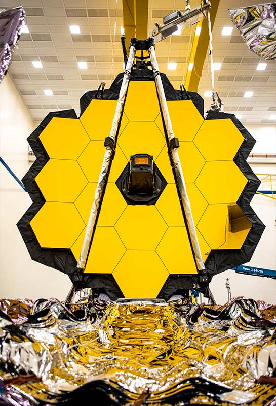 Close up of the mirrors on the James Webb Space Telescope