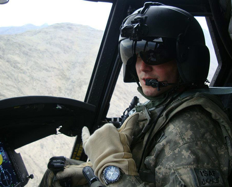 military pilot in cockpit
