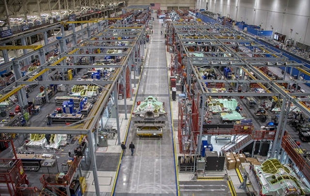 View of F-35 Fight Jet Integrated Assembly Line