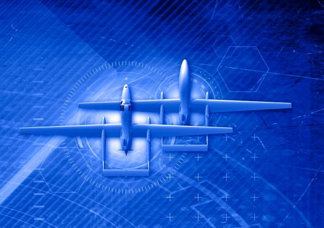 Blue tint image of an aircraft