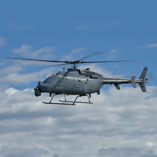 unmanned helicopter-like aircraft flying in the sky