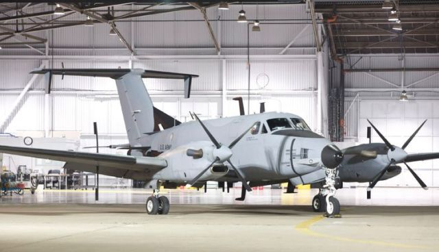U.S. Army fixed wing aircraft RC-12X Guardrail in hangar