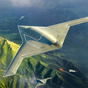 Aircraft flying over mountains