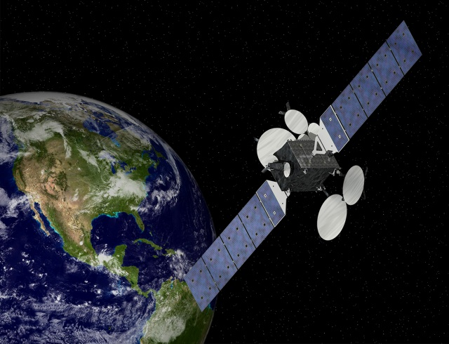 Rendering of the GEOstar-3 orbiting planet Earth