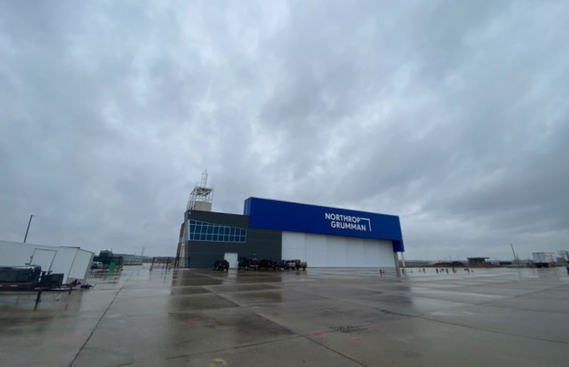Exterior of Grand Sky North Dakota Facility on cloudy day