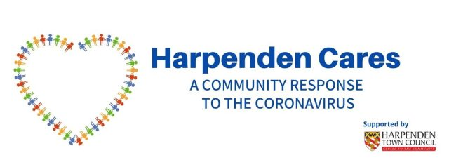 Graphic for Harpenden Cares featuring a heart shape with a border made from multi-colored paper dolls.