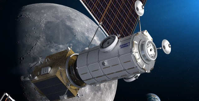 A Northrop Grumman satellite in space in front of the moon