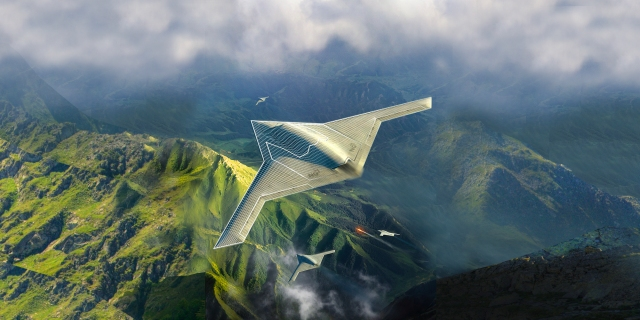 Computer rendering of MQ-Next flying over mountains